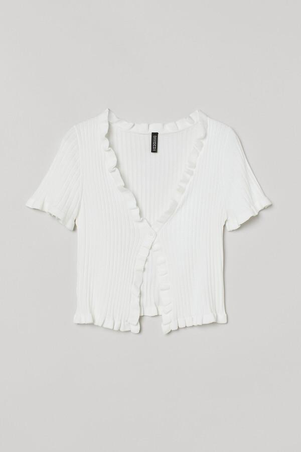 H&M Flounce-trim ribbed cardigan
