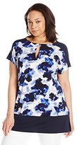 Ellen Tracy Women's Plus-Size Band Bottom Keyhole Tunic