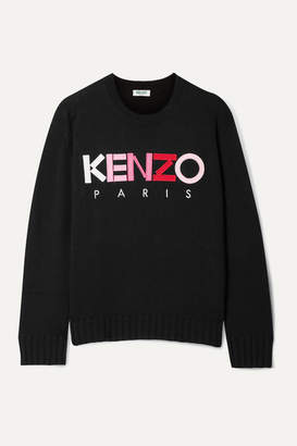 Kenzo Appliquéd Embroidered Wool Sweater - Black