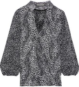 Alice + Olivia Willa Cutout Leopard-jacquard Blouse