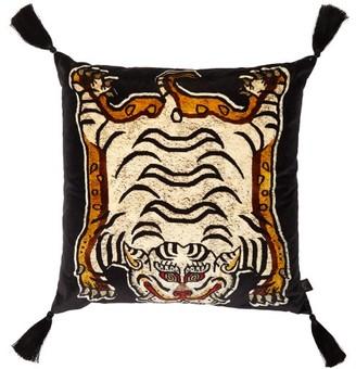 House of Hackney Tigris-print Large Velvet Cushion - Black Print
