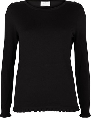 Wallis PETITE Black Frill Trim Jumper