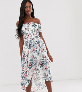 Parisian Tall off shoulder midi dress in floral print-White