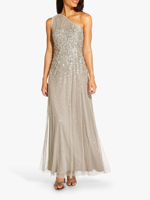 Adrianna Papell One Shoulder Beaded Maxi Gown, Silver