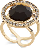 INC International Concepts Gold-Tone Black Stone and Crystal Halo Ring, Only at Macy's
