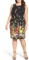 Adrianna Papell Plus Size Women's Strappy Shoulder Print Sheath Dress