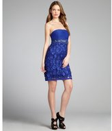 Sue Wong sapphire flower appliqué beaded strapless dress