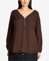 City Chic Trendy Plus Size Zipper-Trim Top
