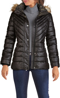 Kenneth Cole New York Faux Fur Hooded Puffer Jacket