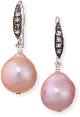 Margo Morrison Sapphire-Hook Short Pearl-Drop Earrings