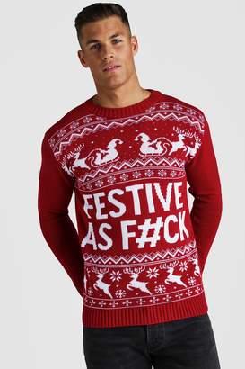 boohoo Festive Slogan Knitted Christmas Jumper