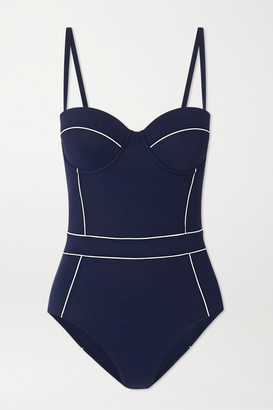 Tory Burch Lipsi Two-tone Underwired Swimsuit - Navy
