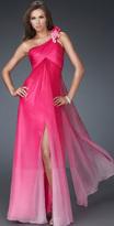 La Femme Floral-accented Ruched Asymmetric A-line Dress 16545
