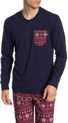 Psycho Bunny Summit Fair Isle Patch Long Sleeve Lounge T-Shirt