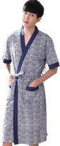 Flaydigo Man Plus Size Short Sleeve Cotton Bath Robe Dressing Gown Wrap Nightwear (), )