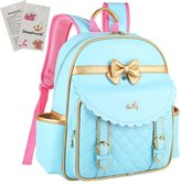Donalworld Children PU Leather School Backpack Bag for Girls Bow Book Bag
