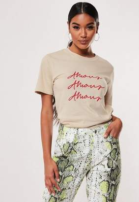 Missguided Sand Amour Graphic T Shirt