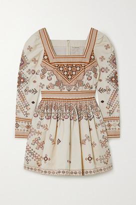 Ulla Johnson Adilah Beaded-embellished Embroidered Cotton And Linen-blend Mini Dress - Cream
