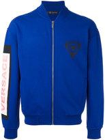 Versace logo patch bomber jacket - men - Cotton/Polyamide/Spandex/Elastane - S