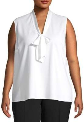 Kasper Plus Sailor-Neck Sleeveless Top