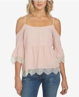 1 STATE 1.STATE Lace-Trim Cold-Shoulder Top