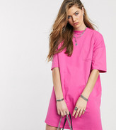 Asos Tall DESIGN Tall oversized t-shirt dress with pocket detail in hot pink