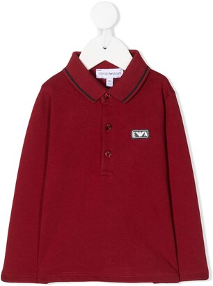 Emporio Armani Kids Logo-Patch Long-Sleeve Polo