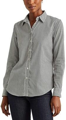 Lauren Ralph Lauren Striped Cotton Shirt (Deep Pine/White) Women's T Shirt