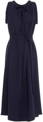 Joseph Grace Belted Gathered Silk-crepe Midi Dress
