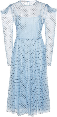 Philosophy di Lorenzo Serafini Polka Dot Puff Shoulder Chiffon Dress
