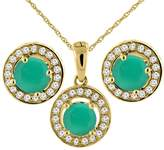 Sabrina Silver 14K Yellow Gold Natural Emerald Earrings and Pendant Set with Diamond Halo Round 5 mm