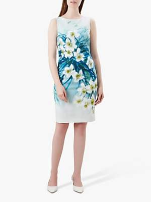 Hobbs Amelie Floral Dress, Blue/Multi