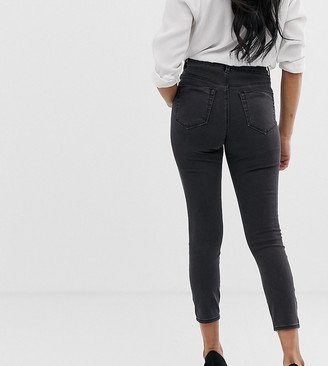 ASOS DESIGN Petite high rise ridley 'skinny' jeans in washed black