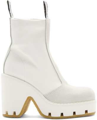MM6 MAISON MARGIELA White Textured Ankle Boots
