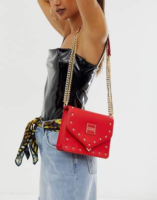 Versace fold over studded crossbody-Red
