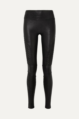 Spanx Moto Faux Stretch-leather Leggings - Black