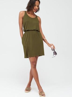 Very Jersey Sleeveless Elastic Waist Mini Dress with Pockets - Khaki