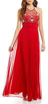 B. Darlin High Neck Illusion Jeweled Bodice Long Pleated Dress