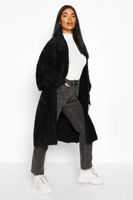 boohoo Petite Premium Fluffy Knit Maxi Cardigan