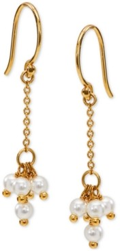 AVA NADRI 18k Gold-Plated Shaky Imitation Pearl Cluster Chain Drop Earrings