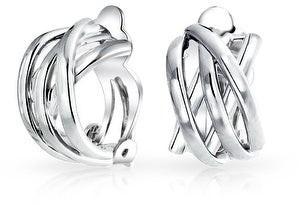 Bling Jewelry Criss Cross Knot Weave Half Hoop Clip On Earrings Non Pierced Ears