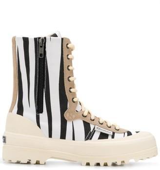 Superga Zebra-Print Lace-Up Boots