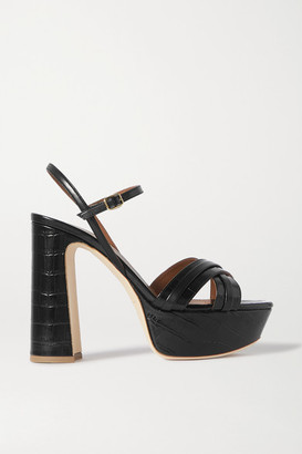Malone Souliers Mila 125 Smooth And Croc-effect Leather Platform Sandals - Black