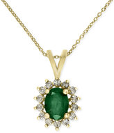 Effy Brasilica by Gold-Tone Emerald (1-1/8 ct. t.w.) and Diamond (1/3 ct. t.w.) Pendant Necklace in 14k Gold