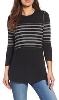 Petite Women's Caslon Stripe Panel Sweater