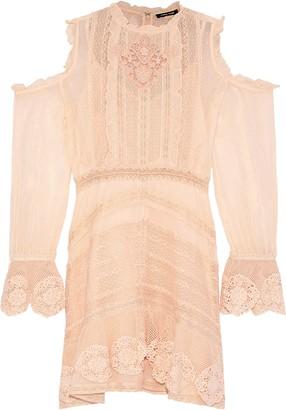 Love Sam Cold-shoulder Fil Coupe Chiffon And Lace Mini Dress