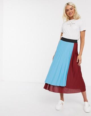 Asos DESIGN color block pleated wrap midi skirt