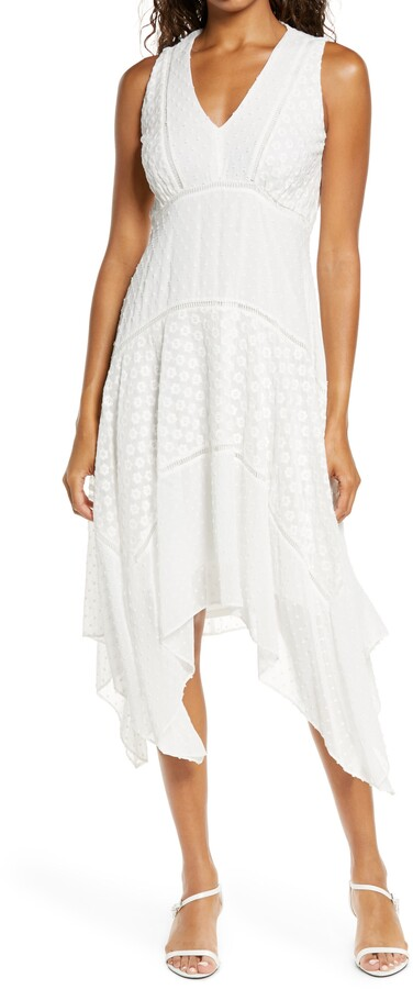 Thumbnail for your product : Taylor Embroidered Chiffon Shark Bite Hem Dress