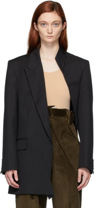 Situationist Black Wool Asymmetric Blazer
