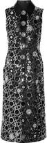 Marc Jacobs PVC-trimmed embellished shell midi dress